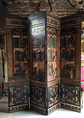 Stunning Antique Style Screen Room Divider Neo Classical Lacquered Four Section