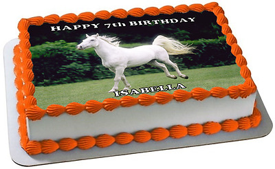 WHITE HORSE A4 PREMIUM Edible ICING Cake Topper CAN BE PERSONALISED D3