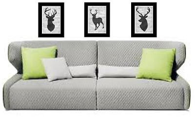 3-Stag Head Prints Vintage Dictionary Page Wall Art Pictures Deer Upcycled RARE