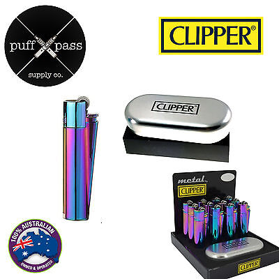 Genuine Icy Rainbow Clipper Lighter Refillable Metal Lighter - Metal Gift Case