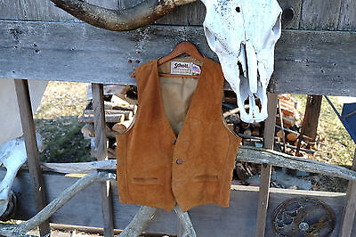 Vintage Rancher Schott Nyc Western Suede Leather Sherpa Vest Usa Mens Xl