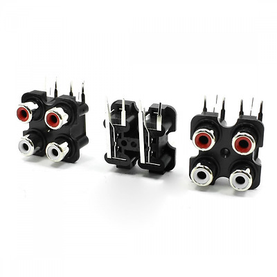 3 Pcs 4 RCA PCB Mount Female Outlet Jack Connector RCA Socket Black