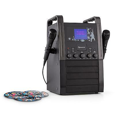 Auna Karaoke Cd Player Microphones 2 Cds Black Speaker Stereo Hifi Muisc Singing
