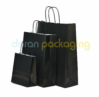 Black Kraft Paper Carrier Bags With Twisted Handles