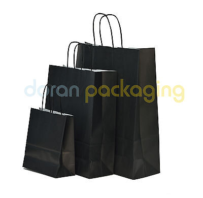 Black Twist Handle Paper Party and Gift Carrier Bag / Bags With Twisted Handles