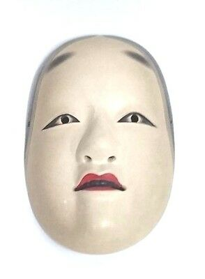 Japanese Antique Noh Wooden Mask Lacquer r284