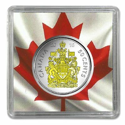 2016 Canadian 50 Cents Plated Rhodium and Gild with Selective Gold 24k