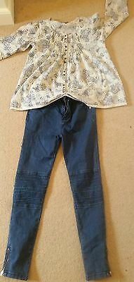Girl skinny jeans and next butterfly blouse age 10-11