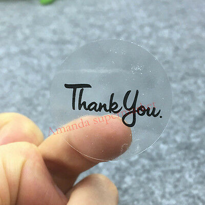 Transparent Round Thank You Stickers - Clear Craft Labels Gift Seals