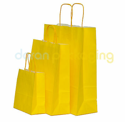 Yellow Twist Handle Paper Party and Gift Carrier Bag / Bags With Twisted Handles