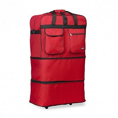 Red 30 Inches Expandable Rolling Duffle Bag Wheeled Spinner Suitcase Luggage