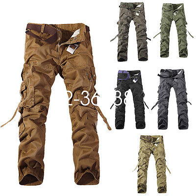 Fashion Men's Cargo Casual Solid Multi Pocket Army Military Tactical Trousers