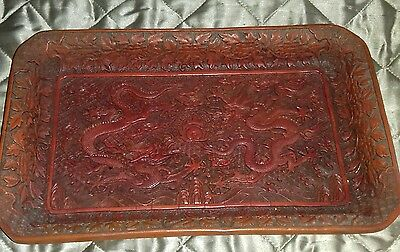 Antique Large Chinese Deep Carved Dragon Cinnabar Lacquer Tray