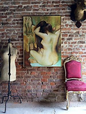 Large Oil On Canvas Nude Female Framed Painting Original Signed A. Hermann 1997