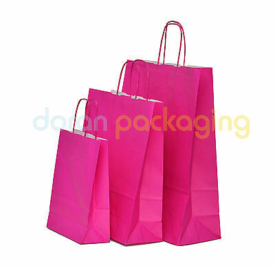 Pink Twist Handle Paper Party and Gift Carrier Bag / Bags With Twisted Handles