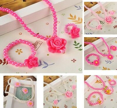 Girls Pink Flower Jewellery Sets Gift Necklace Bracelet Ring Beads Party Wedding