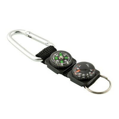 Multi-functional Black Thermometer Key Chain Outdoor Camping Compass Carabiner