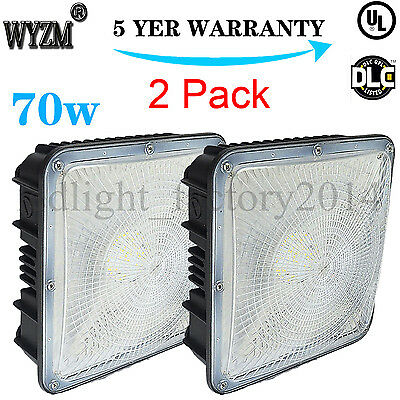 2 Pack 70-Watt UL-Listed & DLC-Qualified LED Canopy Light Ceiling Bay Fixture