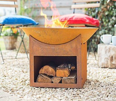 Rustic Cast Iron Fire Pit Garden Log Burner Outdoor Steel Patio Heater Stove