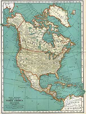 North America Map Vintage 1935, Rand McNally, 1930's,  US Canada Mexico Map