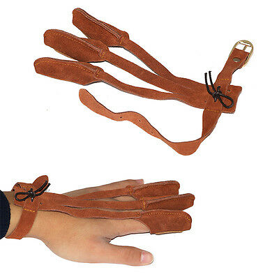 New Durable Archery Protect Glove 3 Finger Pull Bow Arrow Cow Leather Gloves
