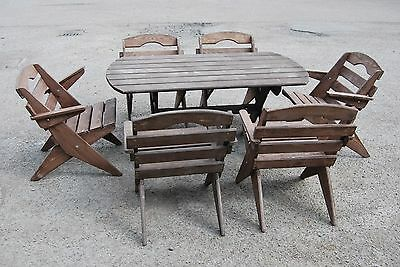 New Garden Furniture, Solid Wood, Folding Table And 6 Folding Chairs