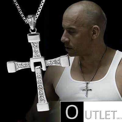 5Collana Catena Croce Fast And Furious Film Vin Diesel Car Uomo Silver Argento