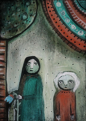 The Flower Thieves outsider art painting ACEO original miniature