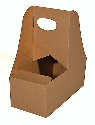 Southern Champion Tray 2795 Kraft Paperboard Drink Carrier with Handle, Hold 2 C