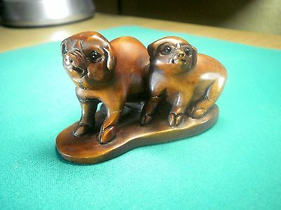 Hand Carved wood netsuke of two pigs, vintage / antique style figure