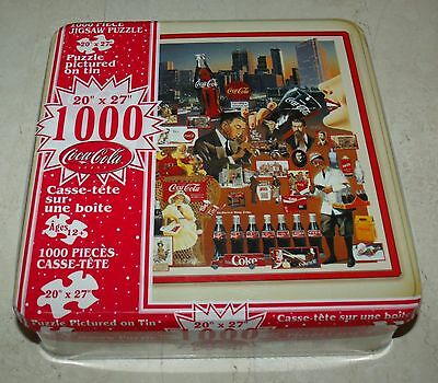 """Coca Cola 1000 Piece """"Coke History"""" Large Puzzle 20""""x27"""" Collectible Tin - NEW"""