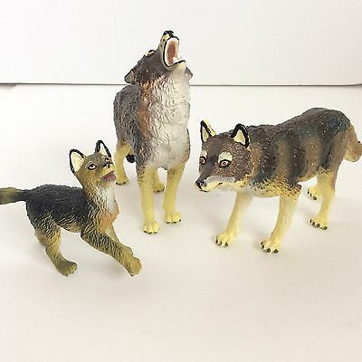 TIMBER WOLF Family Set ~ 1990 SAFARI LTD TOY Incredible Creatures Figure Wolves