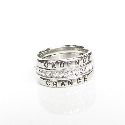 Stackable Personalized Ring Name Ring Birthstone Mom Grandma Gift Silver