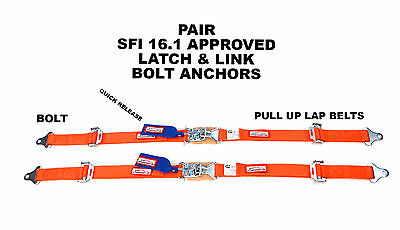 "Off Road Seat Bolt In 2"" Lap Belts Latch & Link Sfi 16.1 Orange Pair Any Color"