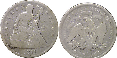 1871 $1 Liberty Seated Silver Dollar About Good