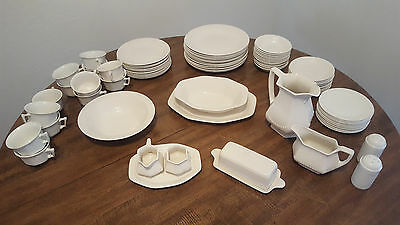 Full Real English Ironstone white china - ADAM AND SONS England 84 Pcs EX Cond