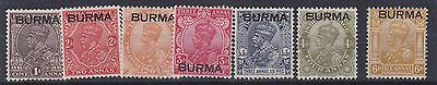Burma  1937  S G 4 - 10  Various Values To 6A  Mh Some Old Hinge Remains