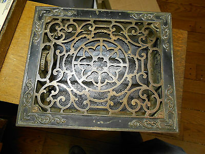 "8"" x 10"" Ornate Cast Iron Heating / Air Grate Vent With Working Louvers"