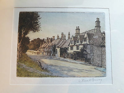 Engraving of Burford in Oxfordshire by L. Russell Conway