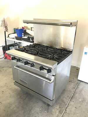 American Range Commercial Oven 6 Burner Two Shelves With Valve Attachments Hose