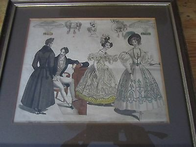 Antique 1833 Moden L Costume Fashion Prints Hand Coloured x 2 Framed Collectible