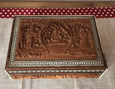 Antique Indian Fully Intricately Hand Carved Wood Writing/jewellery Box