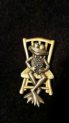 Frog on a chair lapel pin JJ