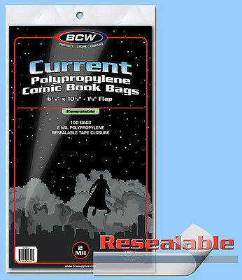 BCW: Comic Bags: RESEALABLE: CURRENT or CUR-THICK: 10 Pks/100ea. *1000ct/CASELOT