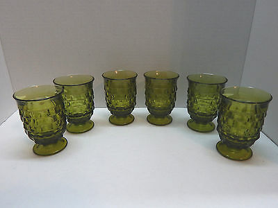 Indiana Colony Whitehall Green Juice Glasses Set Of 6 - 3 7/8'' TALL