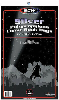 BCW: Comic Bags: SILVER or SILVER-THICK Size:  10 Packs/100ea. *1000ct/CASELOT