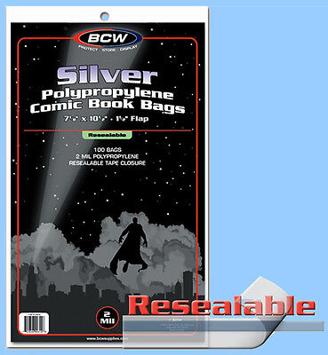 BCW: Comic Bags: RESEALABLE: SILVER or SILVER-THICK:  200ct    *FREE SHIP in USA