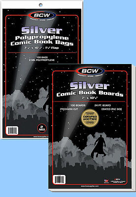 BCW: Comic Bags + Boards Combo: SILVER Size:  100 of each     *Ships FREE in USA
