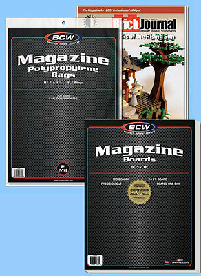 BCW: Magazine Bags + Acid-Free Boards Combo: 100each *Ships FREE in USA