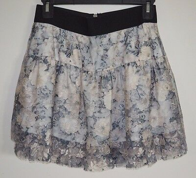 2d329c1c395d ZARA Night Collection Women Size Medium Mini Skirt Lace Floral White Black  Gray